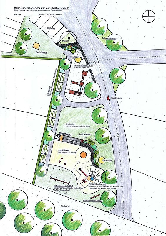 Mehrgenerationenplatz Grünkraut, Lageplan