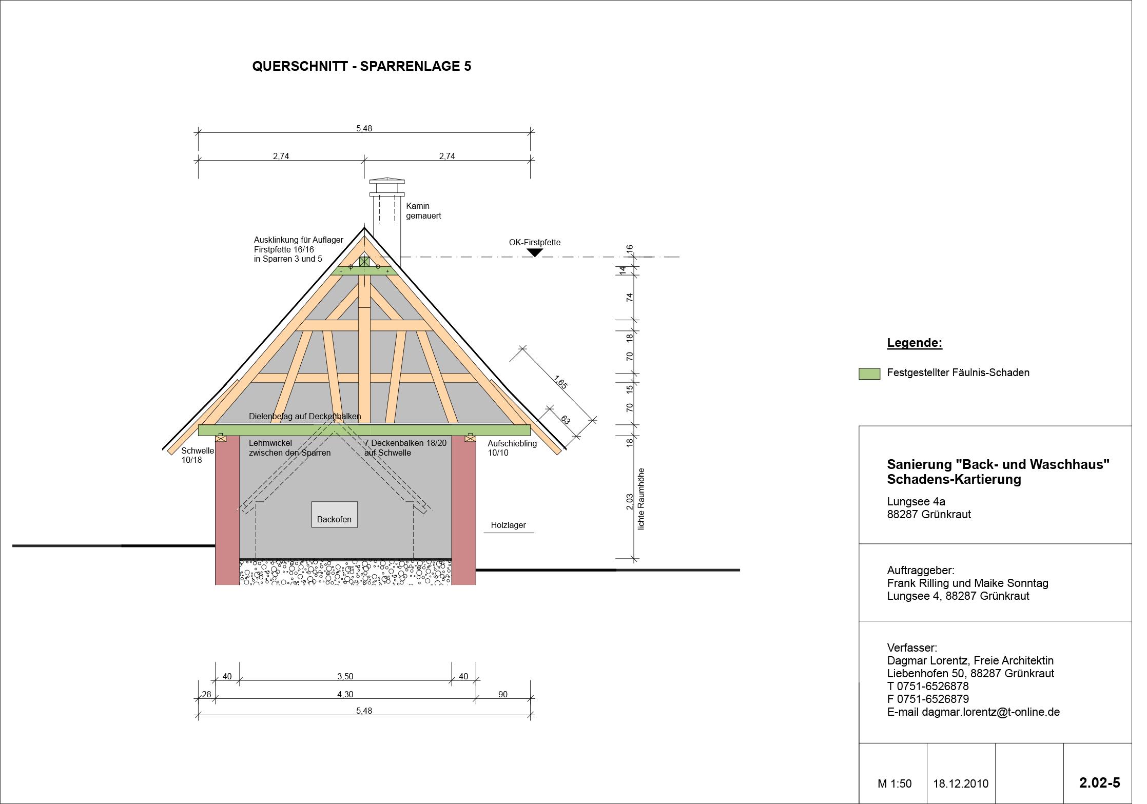 Backhaus Lungsee, Querschnitt Sparrenlage
